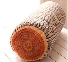 justnile wood log soft decorative throw pillow comfy