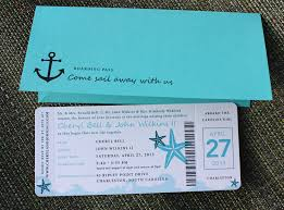 boarding pass wedding invitations turquoise teal anchor starfish waves yacht boarding pass