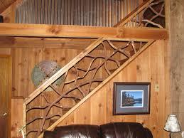 handmade mountain laurel interior railing with distressed wood