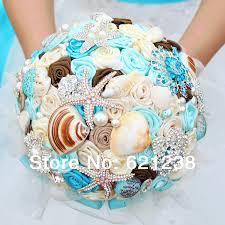 theme wedding bouquets 7 inch blue shell brooch bouquet handmade theme wedding