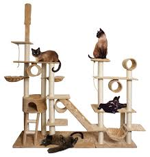 96 u201d tan white cat tree play house gym tower condo scratch post