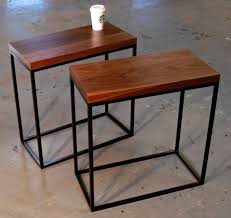 Kitchen Side Table by Skinny Walnut And Square Tube Side Tables Bjorling Grant