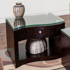 glass top end table with drawer espresso furniture end table archer espresso with shelf round drawer set of