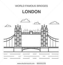 london tower bridge reflections thames vector stock vector