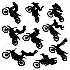 motocross freestyle illustration silhouettes of motorcycle jumping set of motocross