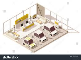 vector isometric low poly car dealership stock vector 566740585 vector isometric low poly car dealership showroom includes cars on the display customers area
