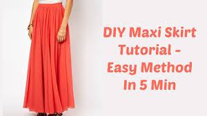 diy maxi skirt tutorial easy method in 5 min youtube