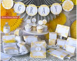 yellow and grey baby shower decorations girl baby shower printable set pink baby shower decoration
