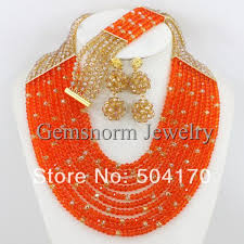 gold orange necklace images Fabulous nigerian beads jewelry set african wedding beads jewelry jpg