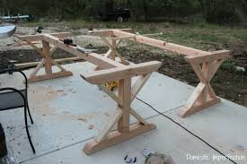 how to build a table base rustic picnic style dining table domestic imperfection