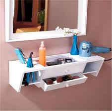 hair and makeup storage ready to hang wooden bathroom storage organizer vanity wall shelf