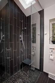 bathroom fascinating black tile bathroom design with glass door