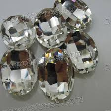 clear gemstones faceted egg shaped clear pointed back glass gemstones