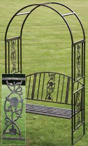 ornamental garden arch with bench furniture benches