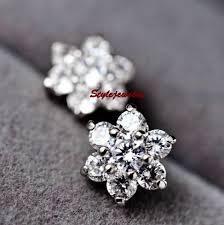 flower stud earrings gold gf diamontic swarovski bridal silver flower stud