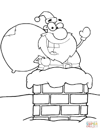 santa claus in chimney coloring page free printable coloring pages