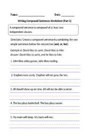 simple and compound sentences worksheet englishlinx com board