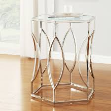 nightstand appealing epic wood and metal nightstand in modern inspire q davlin hexagonal metal frosted glass accent end table