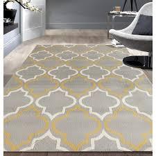 Modern Moroccan Modern Moroccan Trellis Grey Yellow Area Rug 5 U0027x7 U0027 Free