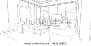 linear sketch interior living room plan stock illustration