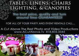 chair table rentals tables chairs linens event rentals los angeles videographer
