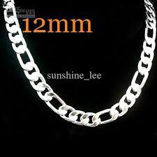 cheap silver chain necklace images Fashion men 39 s necklace 925 silver 12mm figaro chain necklace jpg