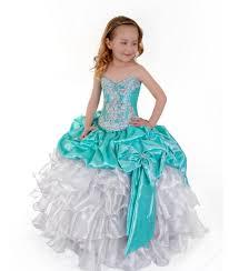 aqua green white satin pageant or formal girls dress flower