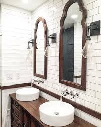 rustic farmhouse bathroom design with plank walls and subway tile