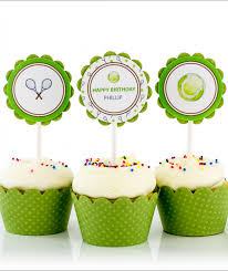 tennis cake toppers birthday party cupcake toppers