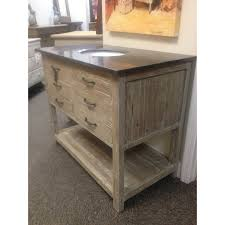 bathroom ruistic small real wood vanity with granite countertop