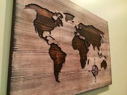 carved wood plank carved wooden world map wood wall home decor throughout on
