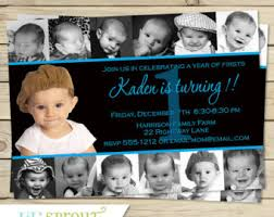 girls 12 photo birthday invitation 1st year collage