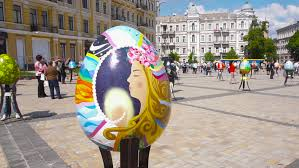 decorative eggs that open kyiv ukraine may 15 2016 up of a large multi colored