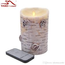 luminara birch bark flameless led candle realistic effect with