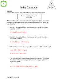 Calculations Significant Figures Worksheet Answers F Ma Calculations By Greenapl Teaching Resources Tes