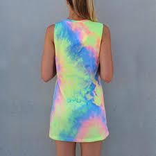 summer women tie dye print rainbow tank dress beach clubwear shirt