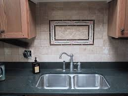 tiles backsplash dark cabinets black granite tavertine tiles