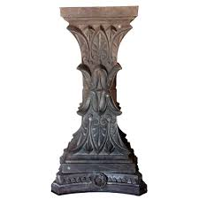 Cast Iron Pedestal Table Base by Antique American Neo Classical Cast Iron Pillar Capitals As A