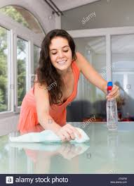 Cleaning Table Stock Images Royalty by Young Woman Cleaning Glass Table With Cleanser And Rag In Living