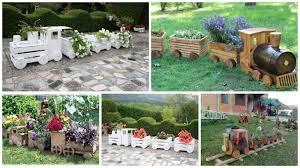 12 diy wooden train planter for outdoor