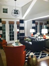 vintage living room with navy blue white horizontal striped
