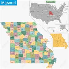 Map Of Missouri State by Map Of Missouri State Designed In Illustration With The Counties