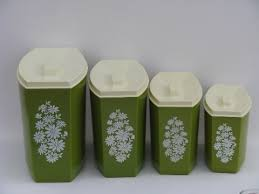 retro kitchen canisters set 60s green white flowers vintage plastic kitchen canisters