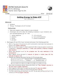 getting energy to make atp part 1 pp 231 226 answer key