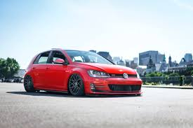volkswagen gti 2015 custom insane red golf gti with a sport roll cage and rotiform custom