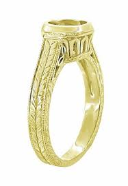 gold 1 carat engagement rings deco 18k yellow gold engraved wheat and filigree bezel