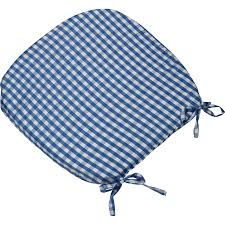 tie on rounded gingham chair seat pad cushion outdoor garden