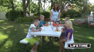 Lifetime Folding Picnic Table Instructions by Lifetime 80215 6 Ft White Granite Hdpe Folding Picnic Table Youtube