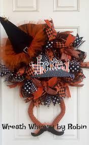 Halloween Wreaths Pinterest by Halloween Door Wreath Classic Orange Black Halloween Fall With