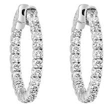 inside out diamond hoop earrings diamond inside out hoop earrings set in 14kt white gold